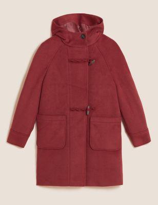 Textured Hooded Duffle Coat