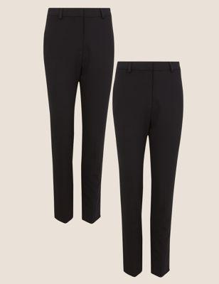 2 Pack Slim Leg Ankle Grazer Trousers
