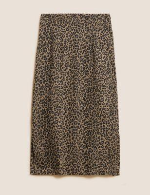 Jersey Animal Jacquard Side Split Midi Skirt