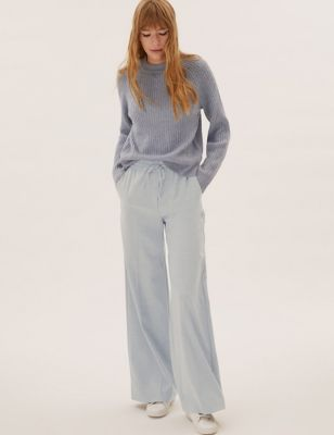 Drawstring Pleat Front Wide Leg Trousers