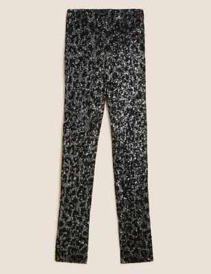 Animal Print Sequin Skinny Trousers