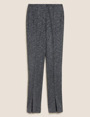 Checked Split Front Skinny Trousers