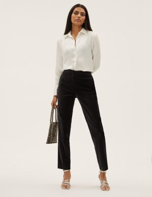 Velvet Slim Fit Ankle Grazer Trousers