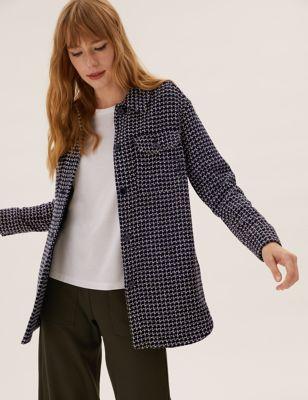 Textured Tweed Longline Shacket