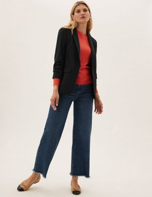 Relaxed Ruched Sleeve Blazer