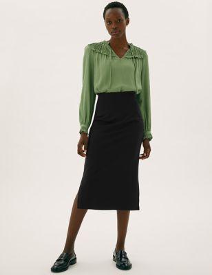 Jersey Midi Pencil Skirt