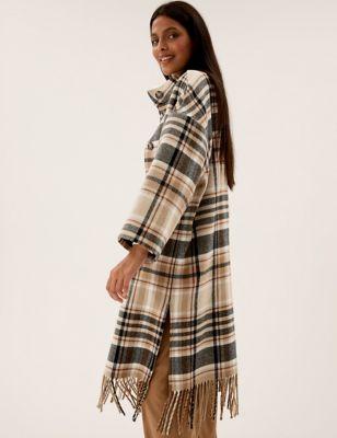 Checked Fringed Funnel Neck Blanket Coat