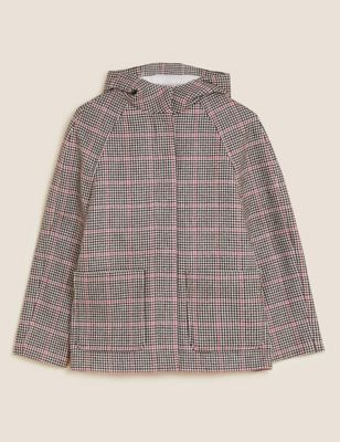 Checked Hooded Coat with Wool