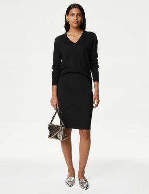 Jersey Knee Length Pencil Skirt