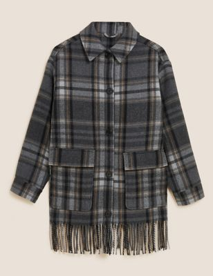 Checked Fringed Shacket with Wool