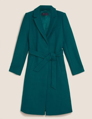 Belted Single Breasted Coat with Wool