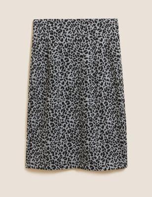 Jersey Animal Print Knee Length Skirt