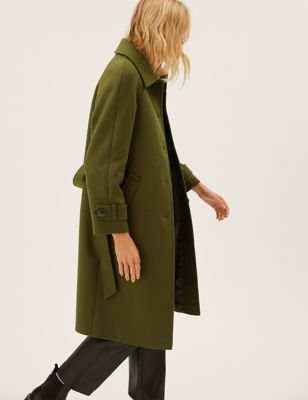 Belted Longline Car Coat with Wool