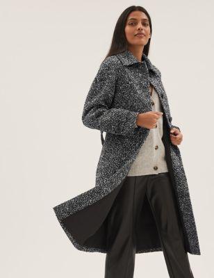 Wool Tweed Belted Longline Car Coat