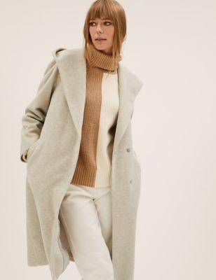 Hooded Belted Longline Wrap Coat