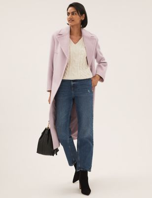 Relaxed Longline Tailored Coat With Wool