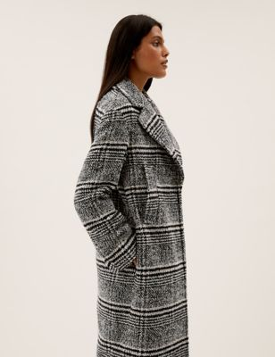 Checked Longline Tailored Coat with Wool