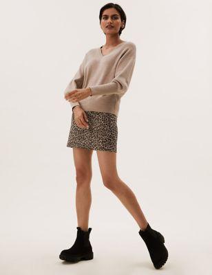 Jersey Animal Jacquard Mini A-Line Skirt
