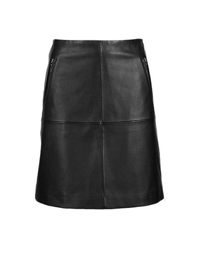PETITE Leather Panelled A-Line Mini Skirt   M&S