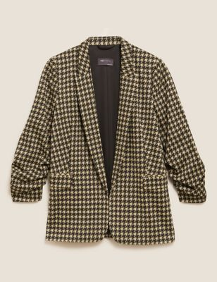 Jersey Dogtooth Ruched Sleeve Blazer Jacket
