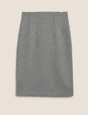 Jersey Dogtooth Knee Length Pencil Skirt