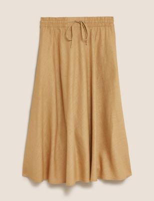 Linen Midi A-Line Skirt