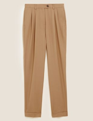 Pleat Front Tapered Ankle Grazer Trousers