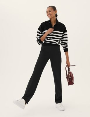Jersey Straight Leg Trousers with Stretch