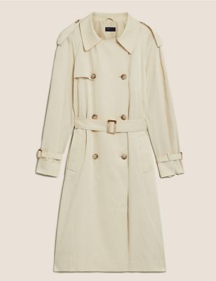 Tencel™ Relaxed Trench Coat with Cotton