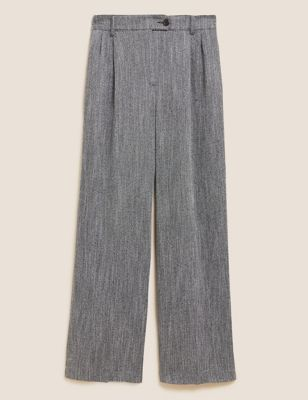 Textured Pleat Front Wide Leg Trousers