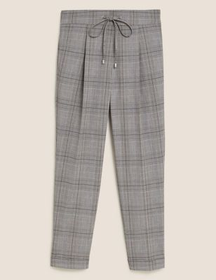 Checked Tapered Ankle Grazer Trousers