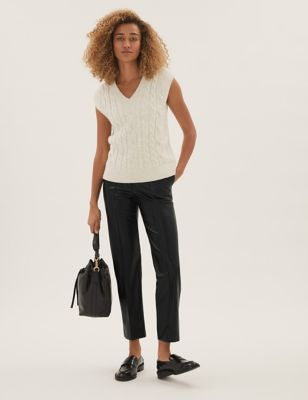 Leather Look Textured Straight Leg Trousers