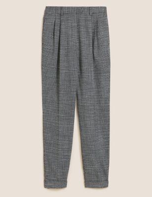 Checked Pleat Front Tapered Trousers