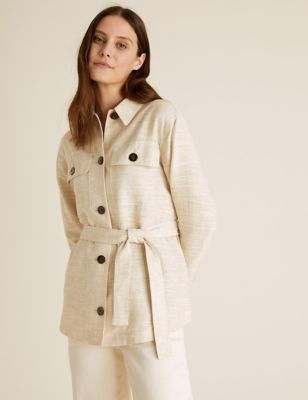 Linen Relaxed Belted Shacket