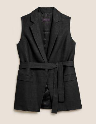 Linen Straight Sleeveless Belted Blazer