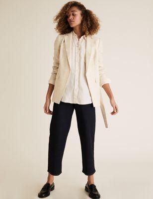 Linen Relaxed Belted Blazer