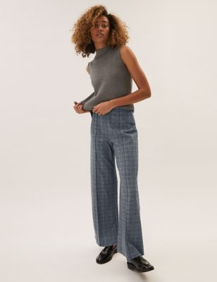 Jersey Checked Wide Leg Trousers