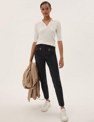 Zip Detail Slim Fit Ankle Grazer Trousers