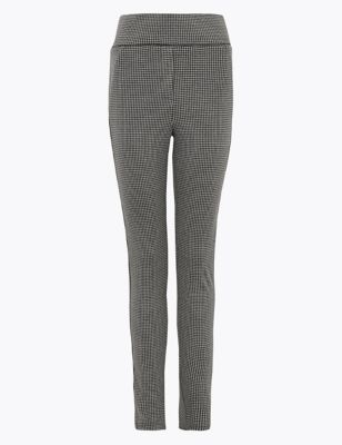 Jersey Checked Skinny Ankle Grazer Trousers