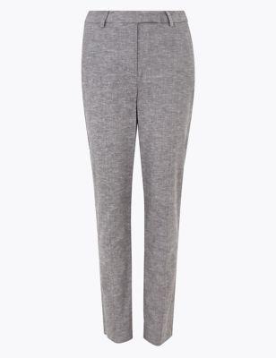 Mia Slim Linen Ankle Grazer Trousers