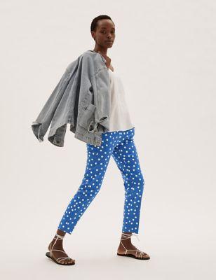 Cotton Polka Dot Slim Fit 7/8 Trousers