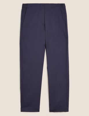Cotton Slim Fit Cropped Trousers