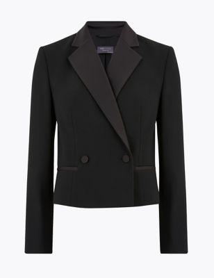 Double Breasted Cropped Tuxedo Jacket
