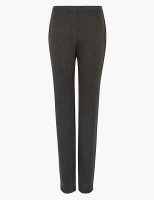 Jersey Dogtooth Straight Leg Trousers
