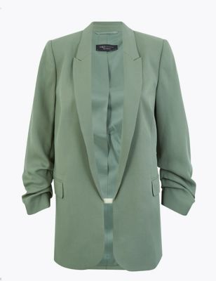 Soft Touch Relaxed Ruched Sleeve Blazer