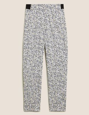 Cotton Printed Slim Fit Cropped Trousers