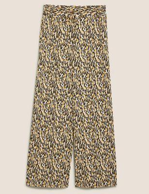 Animal Print Drawstring Wide Leg Trousers