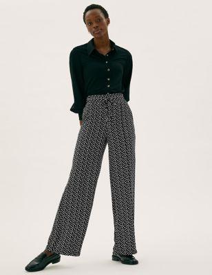 Polka Dot Drawstring Wide Leg Trousers