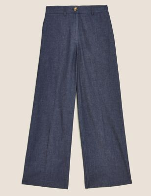 Denim Wide Leg Trousers With Stretch
