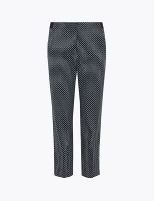 Cotton Geometric Slim Fit Cropped Trousers